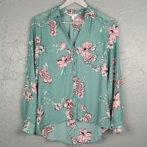 CANDIES Green Floral Button Front Shirt